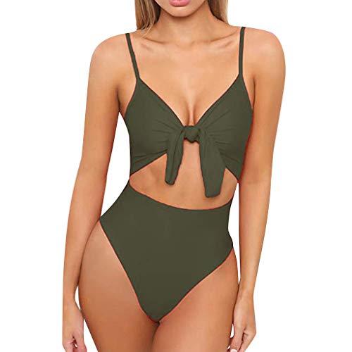 Bikinis Mujer 2019 SHOBDW Color Sólido Conjunto de Bikini Push Up Traje de Baño Mujer Una Pieza Talle Alto Tanga Mujer Nudo de Corbata Acolchado Bra Bañadores de Mujer Sexy(Verde,XL)
