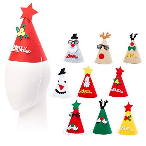 15 Gorros de Fiesta de Navidad para Niños y Adultos| Fieltro Premium,...