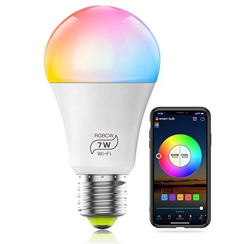 Lampadina Smart WiFi, HaoDeng A19 E26 7W (60w equivalenti) Multicolor 2700k-6500k Dimmerabile Smart LED Lights (nessun hub richiesto), compatibile con Alexa Google Home Siri IFTTT