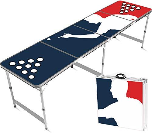 Offizieller Player Beer Pong Tisch mit Becherhalterung | Premium Qualität | Offizielle Wettkampfmaße | Tisch mit Löchern | Kratzfest und Wassergeschützt | Partyspiele | Trinkspiele | 100% Spaß