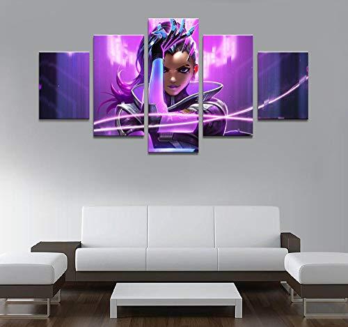 Póster de decoración del hogar Hd Pictures Prints Canvas 5 Modular Beautiful Sombra Overwatch Juego Sala de estar Pintura decorativa (sin marco) 30x40 30x60 30x80cm