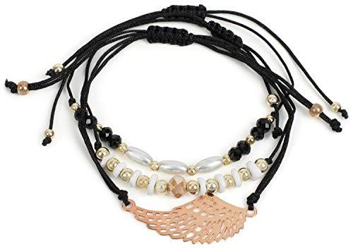 styleBREAKER Damen Stoff Armband 3er Set mit Flügel und Perlen, Schmuck 05040161, Farbe:Schwarz/Gold