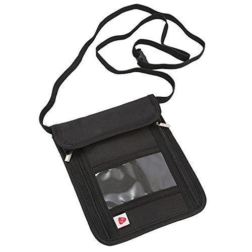 Forepin Portadocumentos de Cuello Cartera de Colgar Bolso de Viaje para el Cuello Porta Pasaporte con Bloqueo RFID Anti-Robo Nylon para Tarjetas de Crédito Dinero Teléfonos Móviles - Negro