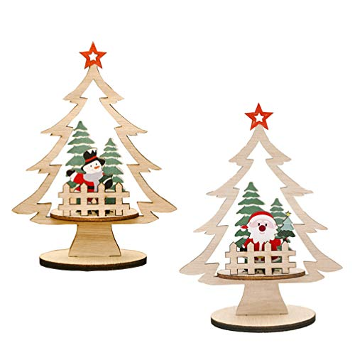 STOBOK Holz Weihnachtsbaum Miniatur Tannenbaum Holz Aufsteller Tischdeko Holz Zaun Baumspitze Sterne Weihnachtsmann Schneemann Figur Kleiner Christbaum Weihnachtsdeko 11x15 cm