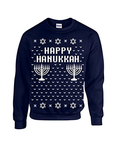 Happy Hanukkah Ugly Sweater Design CREW Sweatshirt - Large Navy (ATA-B109)