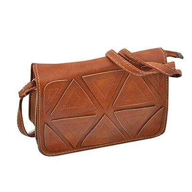 Artisan Crafted Leather Look Sling Bag Handbag with Overlap Design and Adjustable Cross Shoulder Sling Strap (Light Brown) For Women/Girls