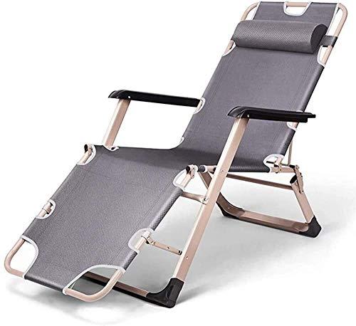 Chaise longue pliable Aoyo - Chaise de plage réglable - Chaise de plage - Jardin extérieur - Terrasse - Lit de soleil - Ceinture respirante - Coussin en coton perlé - Supporte 260 kg, gris, No cushion