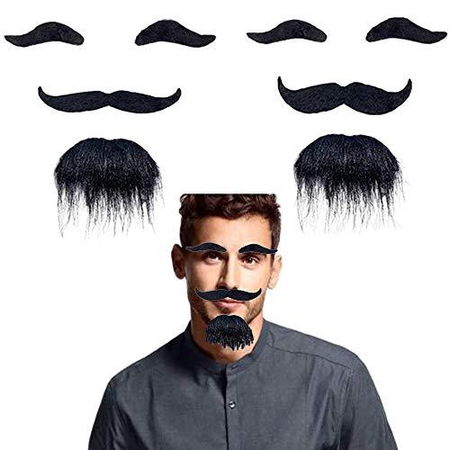 2 PCS Costume Facial Hair,Self Adhesive Fake Mustache Set,False Facial Hair for Party Supplies