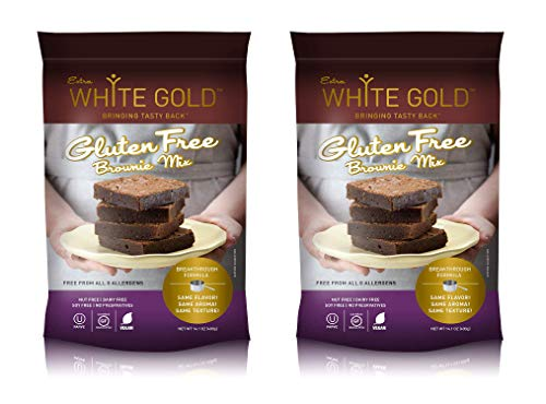 Extra White Gold Gluten Free Brownie Mix – For Baking Desserts – [Kosher] [Gluten Free] [Vegan] [Soy Free] [Nut Free] [Dairy Free] – 14.1 Ounces (2 pack)