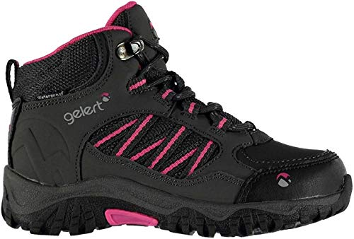 Gelert Kids Horizon Waterproof Childs Walking Boots Lace Up Breathable Padded Charcoal/Pink UK 2 (34)
