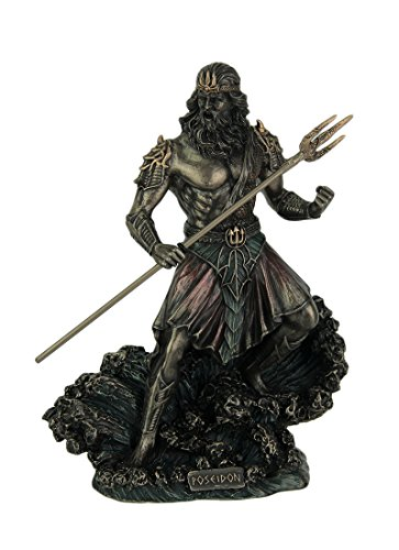Veronese Design 8' Tall Poseidon Ruler of The Sea Holding Trident Standing On Wave Cold Cast Resin Statue Antique Bronze Finish Sculpture