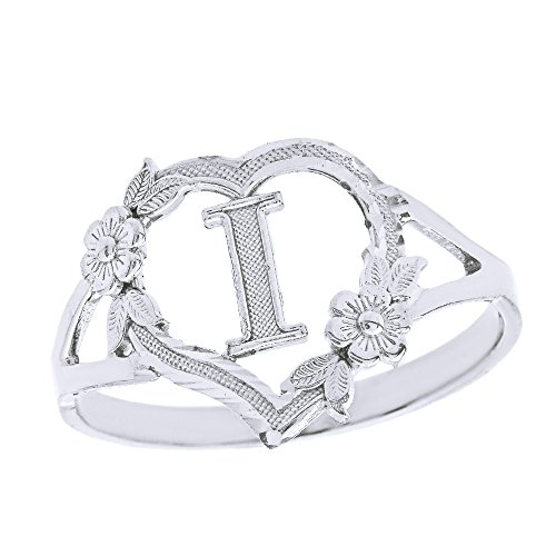 CaliRoseJewelry 10k Initial Alphabet Personalized Heart Ring in White Gold (Size 12) - Letter I