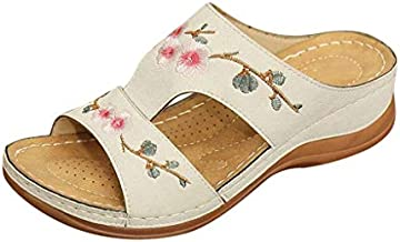 Aniywn Summer Slippers Womens Wedge Heel Embroidery Floral Sandals Women's Shoes Open Toe Arch Support Women Shoes White