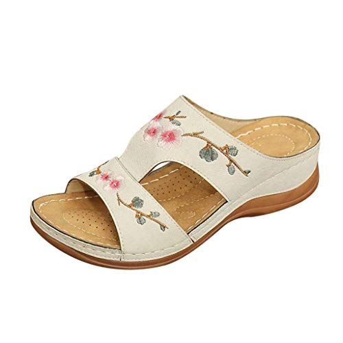 morecome Women's Embroidered Flower Slide Sandals Summer Comfort Wedge Walking Sandals Flat Slippers White