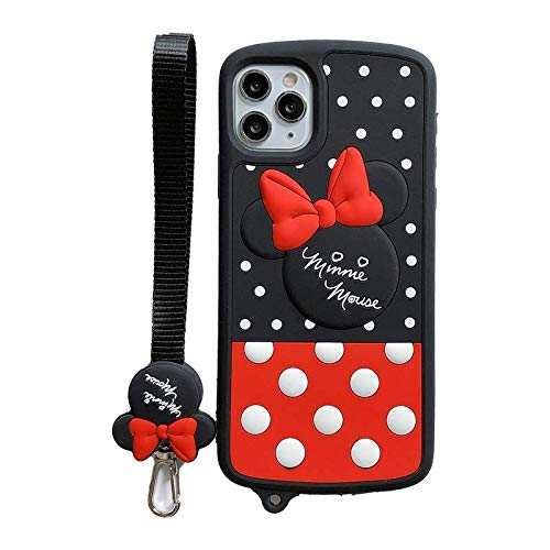 iFiLOVE for iPhone 12 Pro Max Case, Girls Kids Cute Cartoon Minnie Mouse Polka Dots Soft Silicone Shockproof Case Cover with Strap for iPhone 12 Pro Max 6.7 inch