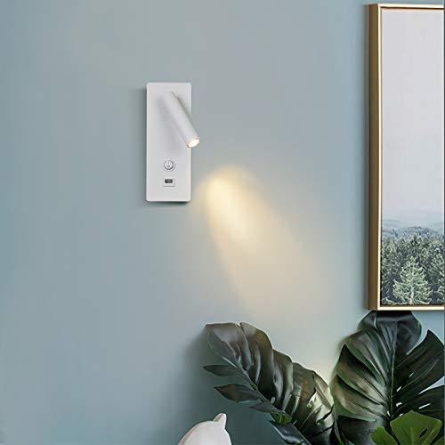 Topmo-plus Focos pared dormitorio Bañadores de pared cabecera apliques pared de Interruptor clásico / 3W LED Cree COB / Luz pared USB sala de estar, sala de estudio, oficina, Hotel Blanco 3000K 22CM