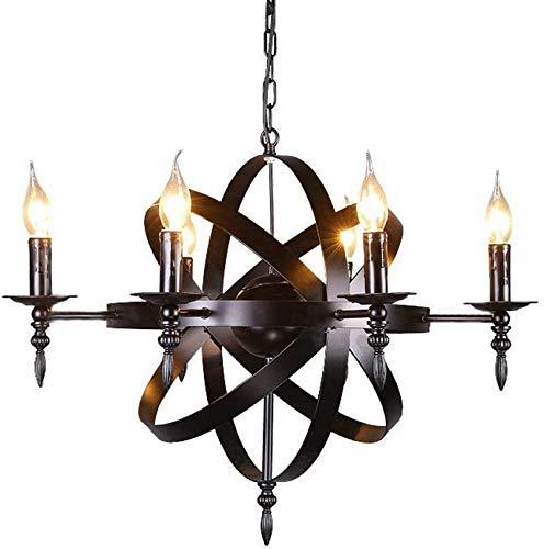 IWxez Mittelalterliche Burg Deckenleuchter, Kerzen Kronleuchter Lampe Schwarze runde rustikal Schmiedeeisen hängen im Wohnzimmer Korridor E14 Kabine Laterne Kronleuchter 6 Leuchten,Black