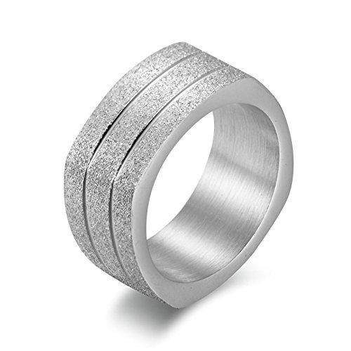 ANAZOZ Ring Unisex 9.5MM Bandring Matt Silber Edelstahl Hochzeit Ring Silber Herren Ringe Größe: 65 (20.7)