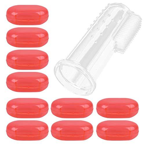 Sicher und ungiftig, 10 Stück Baby Finger Zahnbürste, Baby Healthy Tool Infant Finger Clean Mundzahnbürste,(Red shell)