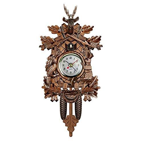 Kuckucksuhr aus Holz, kreative europäische Wohnzimmer, Vintage-Wanduhr, Kuckucksuhr, geeignet zur Dekoration des Wohnzimmers, bietet die beste sensorische Erfahrung für diejenigen, die Kunst lieben