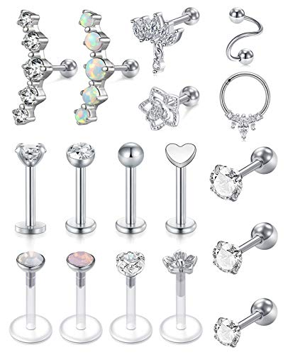 MODRSA 16G Tragus Cartilage Earrings Stud Forward Helix Piercing Jewelry for Women Stainless Steel Lip Ring Cubic Zirconia Opal Flower Stud Earrings for Cartilage Piercings Silver Pack