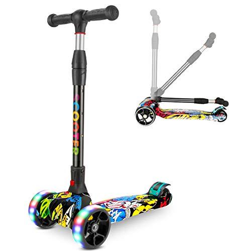 RenFox Scooter, Roller Dreirad mit Verstellbarem LED Rollen Graffiti Scooter Roller Klappbarer City-Roller Sport Scooter Höhenverstellbar