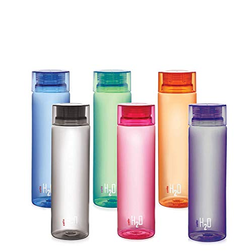 Cello H2O Unbreakable Plastic Bottle Set, 1 Litre, Set of 6, Multicolour