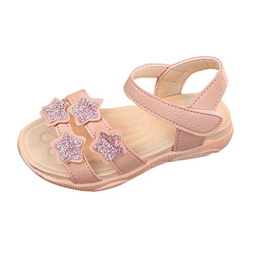 Lowest Prices! Kiminana Children's Girls Star Sequins Bear Soles Beach Casual Princess Sandals Pink