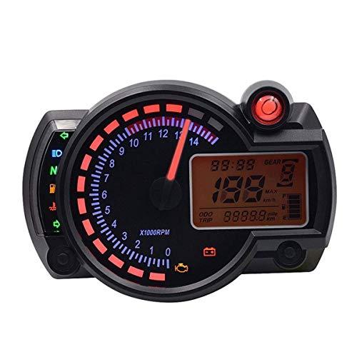 Gaolx 1000rpm Motocicleta Digital LCD indicador de Nivel velocímetro odómetro odómetro, Accesorios de Motocicleta Accesorios de Motocicleta Kawasaki