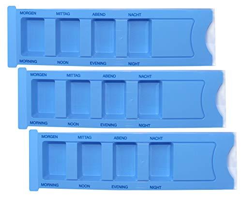 Medi-Inn Medikamentendispenser mit 4 Fächern | blau Standard – 3 Stück | Tablettenbox zum Sortieren & Aufbewahren von Medikamenten