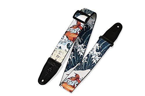 Levy's Leathers 2' Polyester Guitar Strap Sublimation-Printed with original artist's Design, Genuine Leather Ends (MPD2-016)