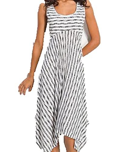 SLYZ Sommer Damen U Ausschnitt Gestreiftes Kleid Sexy Plus Größe Fett Mm Kleid