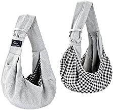 Cuby Dog and Cat Sling Carrier – Hands Free Reversible Pet Papoose Bag -- Soft Pouch and Tote Design – Suitable for Puppy, Small Dogs, and Cats for Outdoor Travel (Classic Grey)