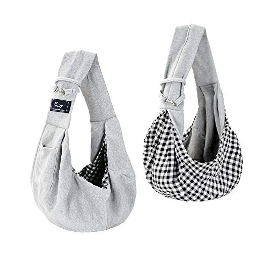 Cuby Dog and Cat Sling Carrier – Hands Free Reversible Pet Papoose Bag -- Soft Pouch and Tote...