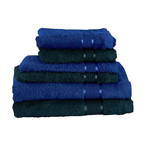 Mixibaby Juego de toallas de 6 piezas: 2 toallas de ducha, 2 toallas de invitados, 2 manoplas de baño, color azul oscuro combinado, color: verde oscuro