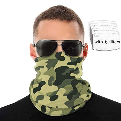 Bandana minimalista verde con fondo de camuflaje militar – para exteriores, bufanda, bandana, diadema ancha, cinta para la cabeza, pasamontañas multifuncional