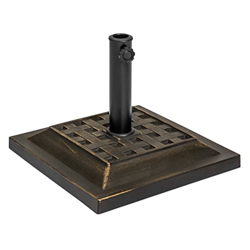 Best Choice Products Heavy Duty 26-Pound Outdoor Steel Square Patio Umbrella Base Stand w/Decorative Basketweave Pattern, Black