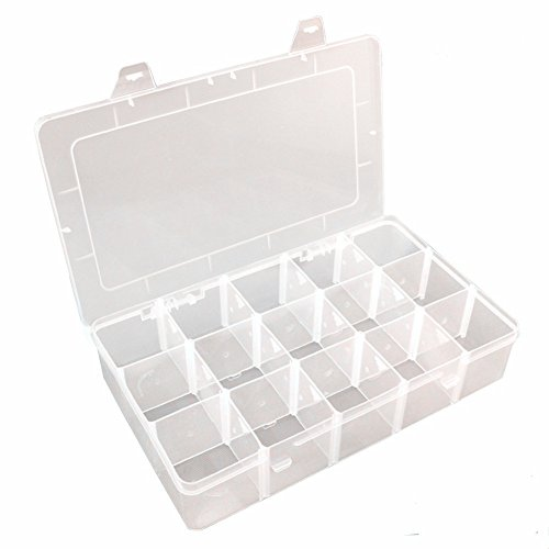 Rekukos Plastic Jewelry Box Organizer Storage Container with Adjustable Dividers 15(Large) Grids