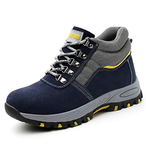 Zapatos de seguridad Zapatos de ante ligera instructor sobre seguridad, Punta Acero gorra y zapatos de media suela de acero Metal Work - transpirable tobillo botas, botas de montaña duradero, acolchad