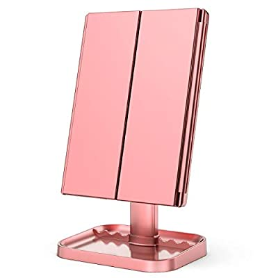 KOOLORBS Makeup Mirror with Lights, 1x 2X 3X Magnification, Lighted Makeup Mirror, Touch Screen Switch,Vanity Mirror with Lights, Dual Power Supply, Portable Trifold Makeup Mirror, Female Gift by TRONICS LLC