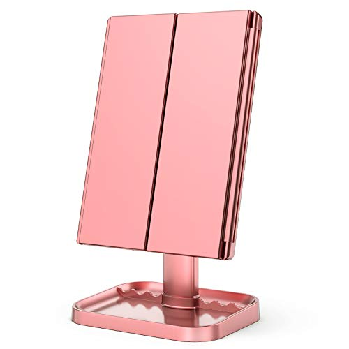 KOOLORBS Makeup Mirror with Lights, 1x 2X 3X Magnification, Lighted Makeup Mirror, Touch Screen Switch,Vanity Mirror with Lights, Dual Power Supply, Portable Trifold Makeup Mirror, Female Gift