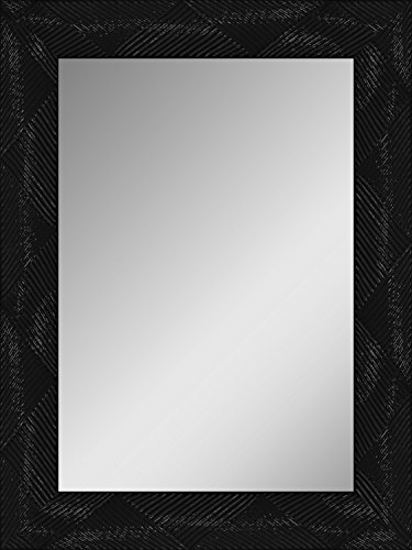 Alpisedia Carla Miroir, Bois, Noir Brillant, 60x80x2,5 cm