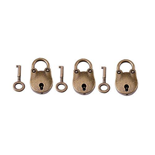 3Pcs Mini candado antiguo de bronce Candado pequeño de metal Archaize Style Lock Mini Bear Archaize Candados Cerradura con llave