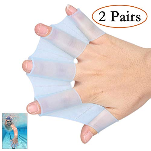 Alanfox Frog Silicone Swimming Fins Handcuffs Flippers HydraHand Hand Paddles Swim Palm Finger for Kids Men Women Swimming Surfing Diving Water Exercise Training-Increased Water Resistance(S,Blue)