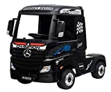 Indalchess Camión eléctrico Infantil Mercedes Actros 12v, 4WD, batería 2x12V7ah, 2.4ghz RC, Negro