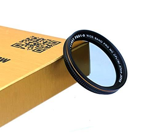 Fotasy 37mm Ultra Slim Circular PL Lens Filter, Nano Coatings MRC Multi Resistant Coating Oil Water Scratch, 16 Layers Multi-Coated 37mm CPL Filter, Black