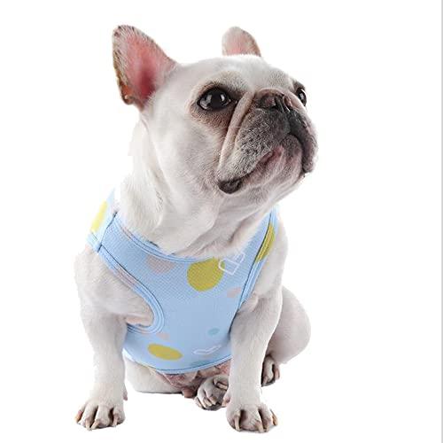 BOLOFY 2PCS French Bulldog T-Shirt Vest for Small Pet Dogs Top Sleeveless Vest Quick Dry Dog Tee Shirt Dog Apparel (Blue+Pink, Medium)