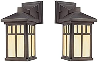 Westinghouse Lighting 6732800-2pack Westinghouse 6732800 Burnham One-Light Exterior Wall Lantern on Steel with Honey Art Glass, Oil Rubbed Bronze Finish (2 Pack