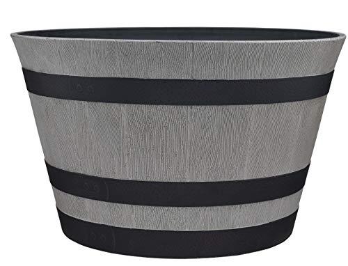 "Southern Patio 15.5"" Resin Whiskey Barrel Planter, Birchwood Grey"