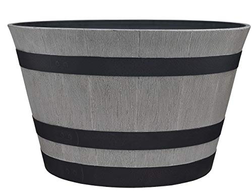 "Southern Patio 15.5"" Resin Whiskey Barrel Planter, Birchwood Grey"